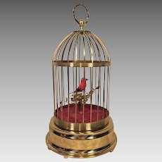 Automaton Brass Singing Moving Bird in Cage Not Running Germany Franz Embacher Movement  Nice Project Piece Here