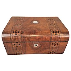 Victorian Burled Walnut Travel/Writing Desk Inlaid Wood and Marquetry Leather Writing Surface