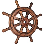 "Antique Small Wood Ship's Wheel 17.25""   Wood Pinned Together 8 Spokes"