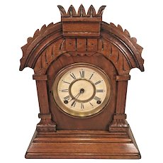 Ansonia Oak Mantel Clock Not Running Wire Gong Strike