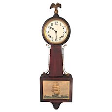 Vintage Federal Style E Ingraham Mahogany Banjo Clock Yankee Clipper Model Running & Striking