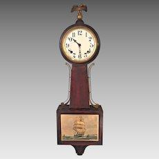 Vintage Federal Style E Ingraham Mahogany Banjo Clock Yankee Clipper Model Running & Striking
