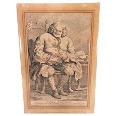 """William Hogarth Engraving of """"Simon Lord Lovat"""" Unframed 1746"""