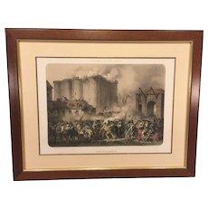 Storming of the Bastille Colored Framed Lithograph  Jean-Baptiste David  from Paris Dans Sa Splendeur Histoire Plate 83
