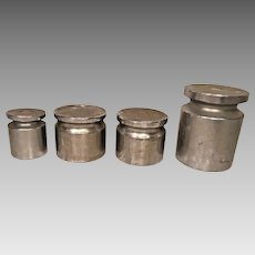 Vintage 4 Large Toledo & Other Scale Weights  Nickel Plated 2 Lbs to 10 Lbs