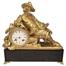 Antique Japes Freres Spelter Cavalier Figural Mantel Clock Not Running No Pendulum Re-Gilted Figure