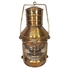 Vtg Anchor Brass Ship's Light w/ Oil Lantern Clear Glass Shade