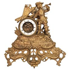 Antique Empire Style Spelter Figural Clock Open Escapement Project Clock Not Running