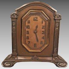 Vintage Lux Shelf Clock Model 201  Art Deco Style Time Only Runs