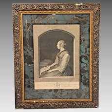 Lady Holding a Letter Engraving   after G Terburg by Pierre Alexander Wille   Framed and Window Matted