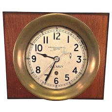 "Vtg Chelsea US Navy Zig Zag Clock WWII  1941-43 Running 7.25"" Case  Rare and Unique Version of Clock as in Brass Case"