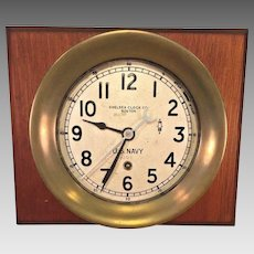 """Vtg Chelsea US Navy Zig Zag Clock WWII  1941-43 Running 7.25"""" Case  Rare and Unique Version of Clock as in Brass Case"""