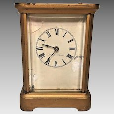 Antique Waterbury Carriage Clock w/ Alarm Function  Running Button on Top for Alarm