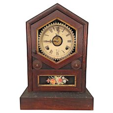 Antique Jerome & Co Wood Steeple Clock w/ Reverse Painted Glass Tablet Runs  New Haven, CT
