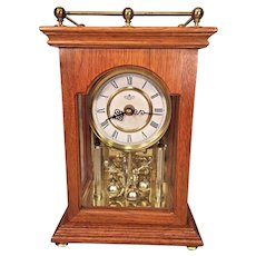 Vintage Quartz D&A Anniversary Style Shelf Clock Running Nice Oak Wood Case  Westminster Chimes