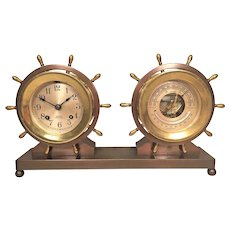 Vintage Chelsea Ship's Bell Clock & Barometer Set on Bronze Base Running & Striking 1960s to 1970s