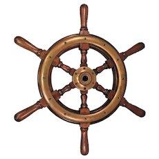 """Vintage Wood Ship's Wheel Trimmed in Brass 6 Spokes 22"""" Across  Plus Oak Wall Mounting Bracket"""