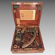 Heath & Co Brass Hezzanith Sextant in Wood Case w/ Attachments & Wood Case