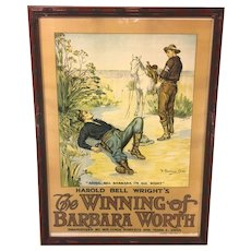 The Winning of Barbara Worth  Silent Movie Film Poster  Western F Graham Cootes Artist  Based on Harold Wright's Book