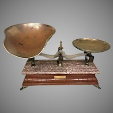 Antique Henry Troemner Scale Marble & Wood  Brass Look Feet Patent Year of 1877 Philadelphia PA