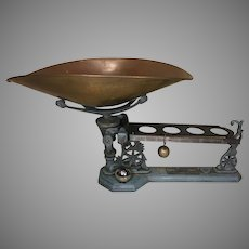 Antique Henry Troemner Scale No 44 w/ Blue Metal Decorative Base Ball Weight Circa 1870s  5 Pound Capacity