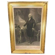 George Washington Engraving after Gilbert Stuart  Painting John Halpin Engraver 1840s