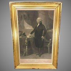 George Washington Engraving after Gilbert Stuart  Painting John Halpin Engraver 1840s