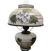 Table Lamp w/ Glass Shade w/ Nice Floral Scene and Clear Glass Lantern Flute - Glass Base has same Design as Shade and then Metal Base Legs