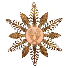 Wall Sconce with Gold Colored Metal Leafing and Pink Decorated Flower Center