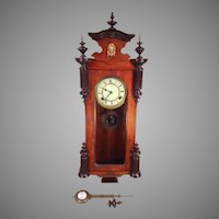 Seikosha Wall Clock Porcelain Face Great Wood Case Finials Runs and Strikes