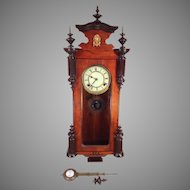 Seikosha Wall Clock Porcelain Face Great Wood Case Finials Runs and Strikes