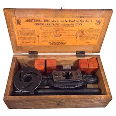 Antique Armstrong Pipe Cutter Threader with Handles with 4 Dies Great Wood Stenciled Box