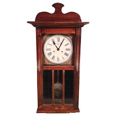 French Clock Company Wall Clock with Great Wood Case Not Running Project Clock