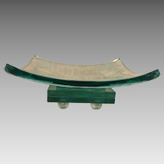 Green Etched Glass Bowl with Fleur De Lis Design and Separate Glass Base