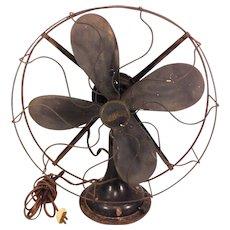Vintage Westinghouse Oscillating Cast Base Fan Running Wood Blades