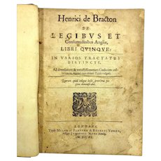 Henry de Bracton On the Laws and Customs of England 1640 Owned by Delaware US Senator John Clayton