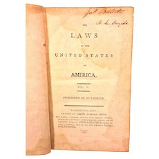 Antique Book Laws of the United States of America Acts Passed  at 1st Session of Sixth Congress 1799 Vol 5 Pub 1801  Item Description