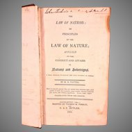 Antique Law of Nations Book 1805 by M D Vattel with US DE Senator John M Clayton Stamp