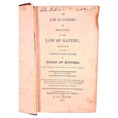 Antique Law of Nations Book 1805 by M D Vattel with US DE Senator John M Clayton Stamp