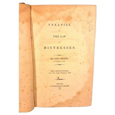 Antique Book A Treatise on the Law of Distresses 1808 1st US Edition James Bradby Owned by US DE Senator John M Clayton