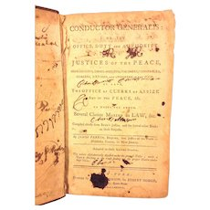 Antique Book Conductor Generalis or Office Duty of Justices of the Peace 1788 by James Parker Owned by US DE Senator John M Clayton