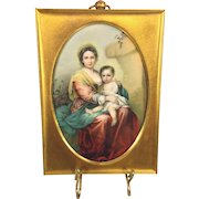 Vintage Miniature Lithograph of Madonna & Child in Gold Colored Frame After Raphael