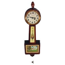 Vintage Waltham Spring Mini Banjo Clock Model B1594 with George Washington and Mt. Vernon Glass Great Cherry Wood Case Time Only Runs Inconsistently  Item Description