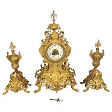 Antique Japy Freres Gilt Brass Clock and Garniture Set Rococo Style Porcelain Face Running Striking Circa 1900