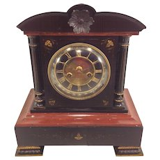 Antique French Polished Slate & Marble Mantel Clock Brass Legs Beautiful Face Running & Striking