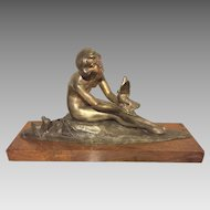 Pierre Alexandre Morlon Bronze Sculpture Female Nude Nymph with Doves Art Deco Piece Signed w/ Silver Patina Walnut Base Early 20th Century