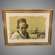"""Vintage William Weintraub Artist Proof Lithograph """"Elder"""" Signed Colored Lithograph Artist Proof 1960s"""