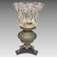 Antique Renaissance Revival Rudolph Ditmar Oil Lamp Metal Etched Glass Shade w/ Glass Bowl for Oil