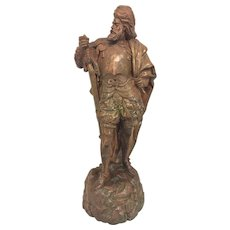 Vintage Conquistador w/ Broad Sword Sculpture Bronze with Finished Composition Mid 20th Century