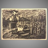 "Vintage Martin Jackson Nightscape Wood Print Lithograph ""The Burial"" 1947"